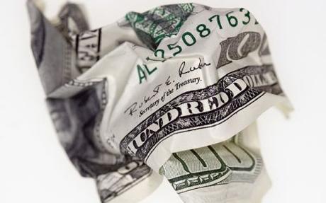 Crumpled Hundred dollar bill - 42-17858947