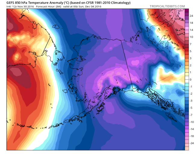 12Z GEFS 850 mb temperature anomalies for Alaska on Saturday night; map courtesy tropicatidbits.com, NOAA